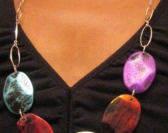 Color Scratched - Long Chained Necklace