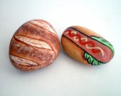 Whimsy Hotdog and Bread Painted Rock Food Art, Fun Gift Idea Under 30 for gourmet