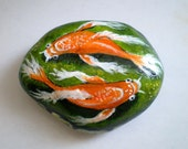 Koi Fish Couple Painted Rock Home Decor