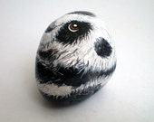 Panda Painted Pet Rock Animal -Black White, Gift for pet lovers,  collectibles under 50, river rocks