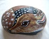 Sweet Fawn-  3D Handpainted rock deer, Holidays gift for petlover under 50