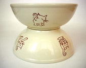 Hand Painted Kitty Cats Bowl Set of 2, Gift Under 50 for pet lovers