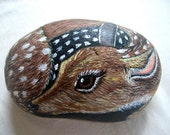Woodland Deer Painted Rock , Sweet Fawn-  woodland gift