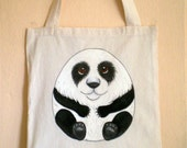 ON SALE - Panda Tote Bag, Handpainted Eco Friendly Natural Cotton