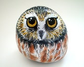 Hand painted Owl Rock  , whimsical animal rockart, woodland collectable animal figurine