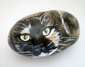 Calico Cat  Painted Rock , Pet Decor, paper weight - Gift for Pet lovers catlovers Under 50