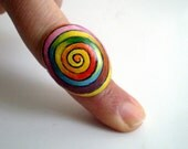 Rainbow Spiral Pebble Ring  Hand Painted - Adjustable, original painting