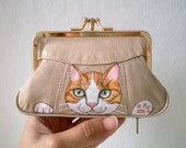 RESERVED for PARICHARD- Cat Purse - Hand Paint Orange Tabby Cat Purse - Beige Leather Purse - kitty cat purse - wallet , kitty paws