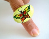 On SALE- Lime Neon Butterfly Ring - Hand Paint Stone Jewelry Adjustable, original painting -  beach stone