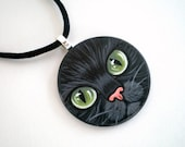 Green Eyed  Black Cat  Necklace -Hand  Paint  Pendant  wooden art jewelry, gift for pet lovers