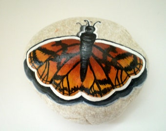 Monarch  Butterfly Painted Rock ,  Hand painted Stone Decor paperweight