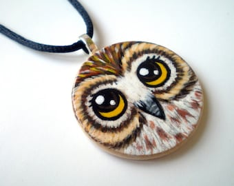Owl Necklace  Hand Painted  Wood Disc pendant, woodland gift