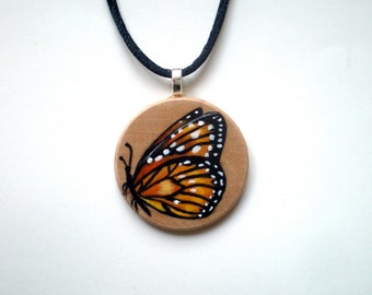 Monarch Butterfly  Necklace  Hand Painted  Wooden Jewelry , Art Pendant