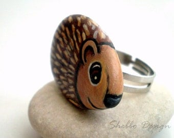 Hand Painted Hedgehog  Ring, adjustable , unique wearable art,  Christmas Sale, xmas gift