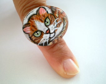 Yellow  Cat  Ring, Painted   Stone - Adjustable, original wearable art, gift for pet lovers, gift under 50