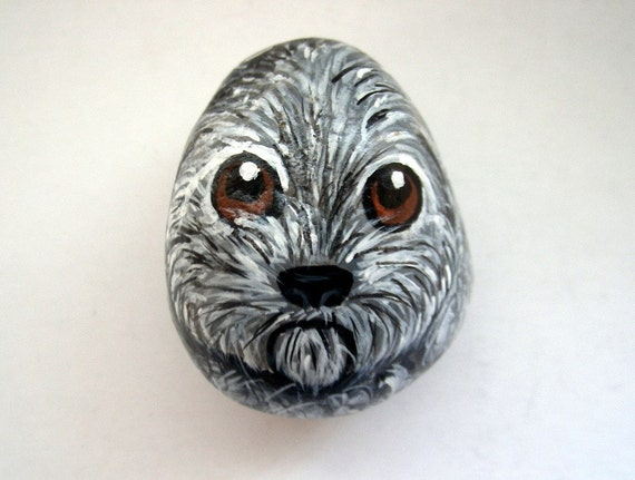 Puddle Terrier Painted Rock miniature dog, animal collectibles, Petlovers dog lovers Under 25
