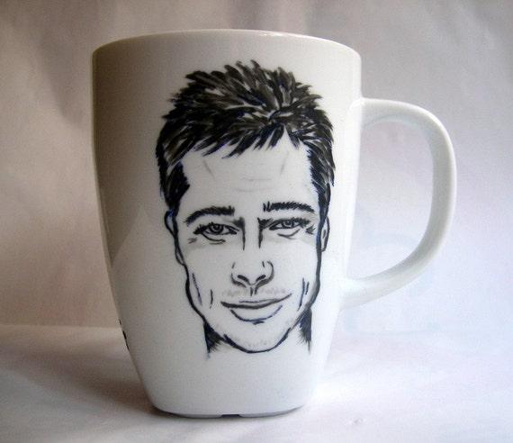 Handpainted Custom Portrait  Mug -Made to order- Monocrome
