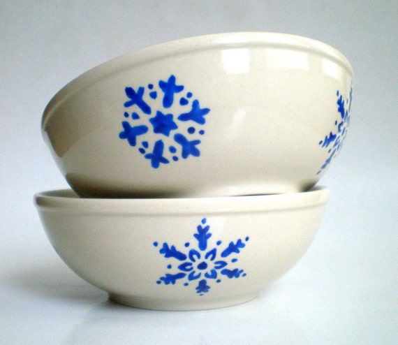 Hand Paint Snowflakes Cobalt  Bowl Set of 2, Christmas Gift under 50