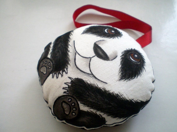 Hand Painted  Panda Ornament, soft Toy, Decoration Art doll,