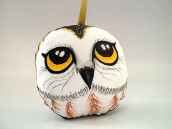 Hand Painted OWL Ornament from Woodland, Animal Art Doll decoration, christmas gift under 25