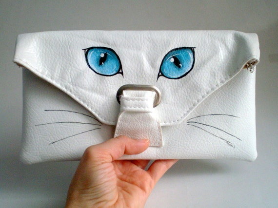 Cat Eye Clutch, Hand Painted Bag, purse