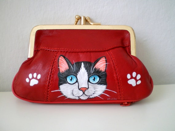 RESERVED for PARICHARD -- Red Leather Cat Purse,  Hand Paint Cat portrait coin purse, paw print bag