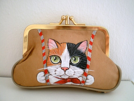 Cat Purse - Handpainted Calico  Cat - Camel Leather Purse -  kitty cat coin purse wallet  unique gift for pet lovers