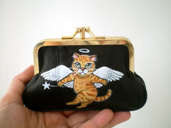 Painted Kitty Cat Leather  Purse , kitty cat art , mini black leather purse