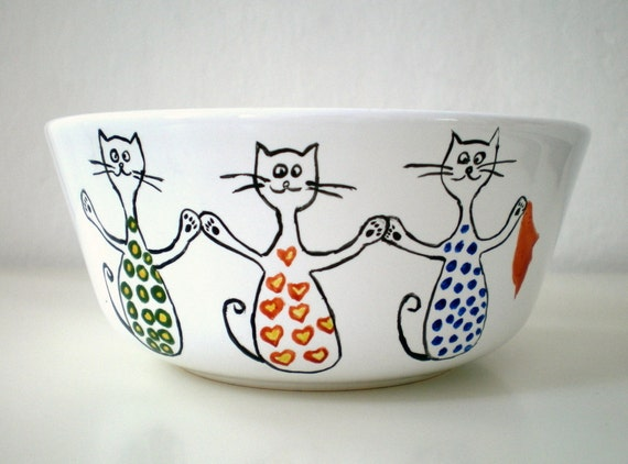 Dancer Kitty Cat Bowl , Hand Painted unique home kitchen decor