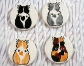 Set of 4 Small Cat and Hearts Buttons Clay Handmade 2-Hole Studio