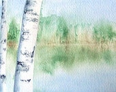 Birches on the Lake Original Watercolor Painting