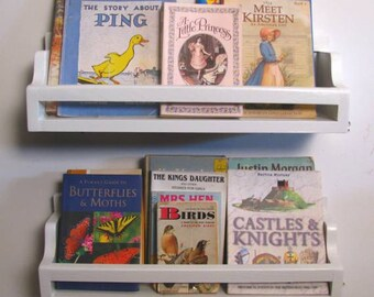 3 Bead Board Bedtime Bookshelves for your bedtime story books, wall shelf, childrens decor