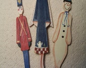 Handmade Wooden Country Trio Christmas Ornaments