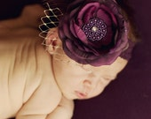 Vintage Couture Headband Plum Flower Feathers Veiling Rhinestone on Stretch lace Makes a great Photo Prop