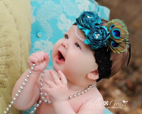 Couture Gatsby Flapper Style Rosette Headband with Pearls French Netting Peacock Feathers for Newborns Adults A102