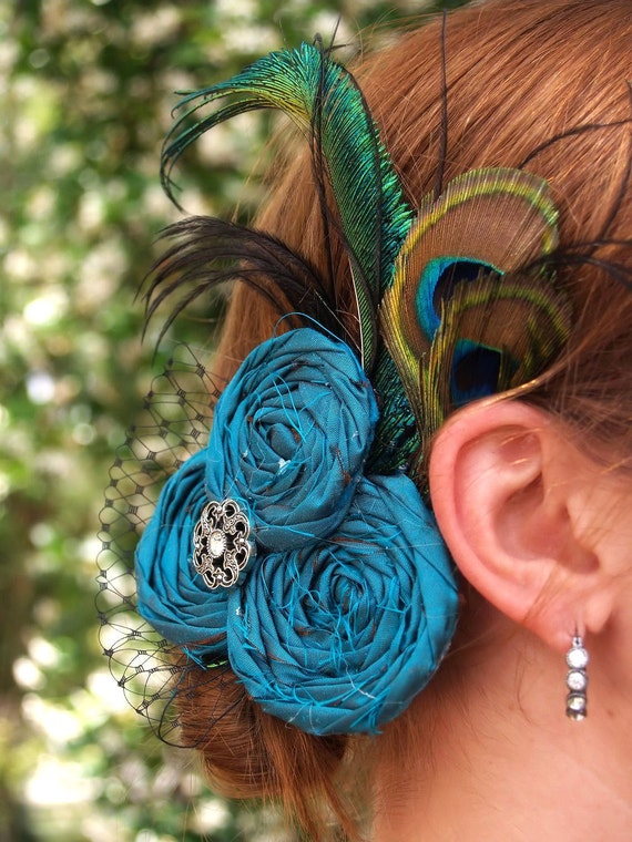 Couture Silk Rosette Clip Fascinator with veiling Peacock Feathers for Wedding or Bridal A137