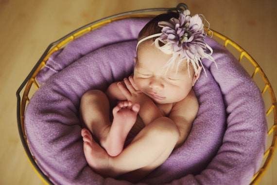 Couture Purple Flower Headband with Feathers Pearl Veiling for Newborns Infants Girls Adults A107