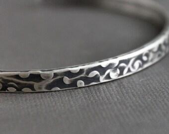 Mens Silver Bracelet Hammered Texture Cuff