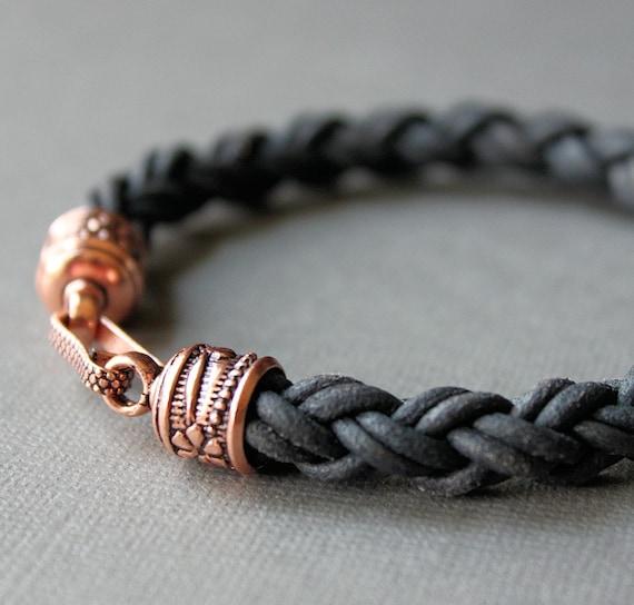 Mens Leather Bracelet Thick Black Braid Copper Clasp