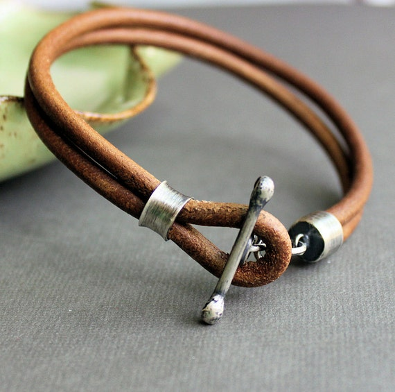 Mens Leather Bracelet Rustic Natural Light Brown Handmade