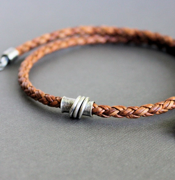Silver Tube Braided Leather Necklace Light Brown