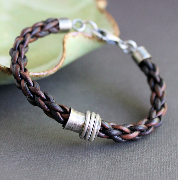 Mens Leather Bracelet, Brown Braid with Sterling Silver Tube