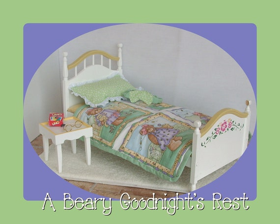 18 Inch Doll Bedding Set to fit American Girl Sized Bed - Beary Adorable