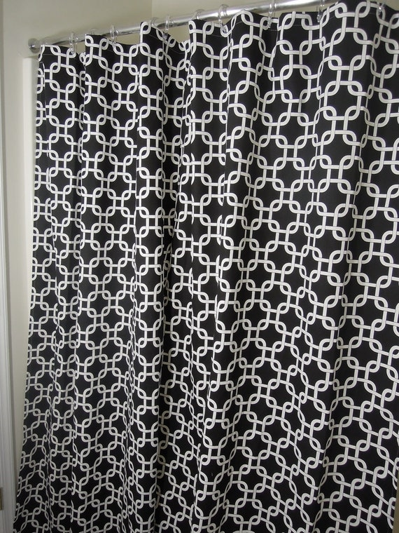 72x72 Shower Curtain Black White Geometric Retro