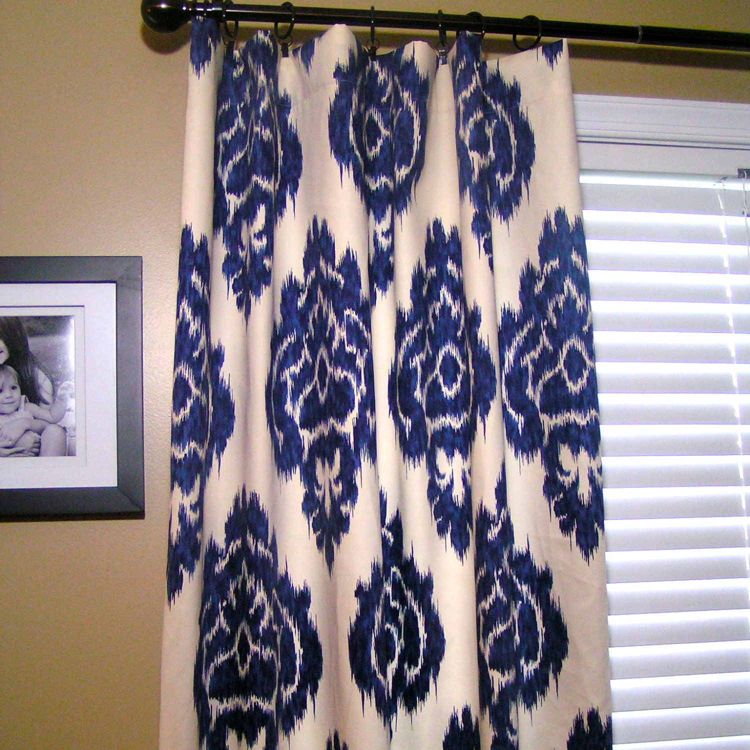 50x84 Rod Pocket Panels Ikat Fabric Indigo Blue And Cream