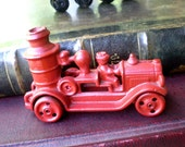 Vintage Cast Iron Fire Engine with Driver