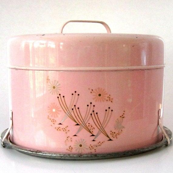 Vintage Pink Cake Carrier