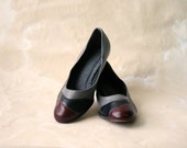 SALE  Vintage Neutral Color Block Leather Pumps, Size 8.5