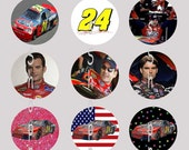 1 Inch Circle Images for bottle cap, scrapbooking, badge, cupcake or other - Jeff Gordon 24 Racing with Automatic Digital Download