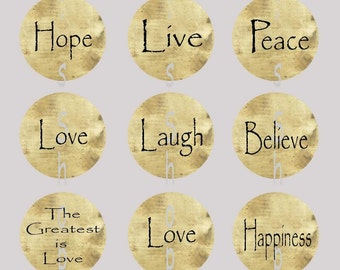 1 inch Circle Images for bottle cap, scrapbooking or other - Inspirational Words, Faith Hope Love with Automatic Digital Download Live Laugh